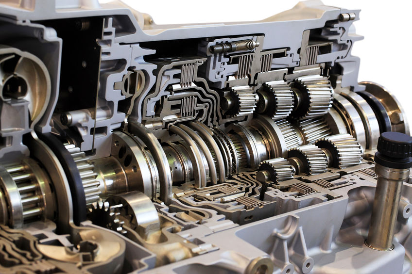 Automotive transmission gearbox with lots of details